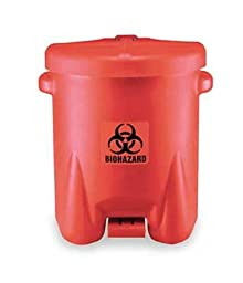 Eagle 947BIO Biohazardous Waste Polyethylene Safety Can with Foot Lever, 14 Gallon Capacity, Red