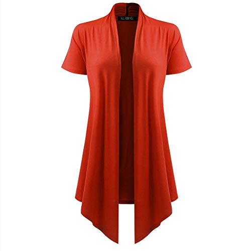 Toimothcn Women's Soft Drape Open Front Cardigan Short Sleeve Sun Wear Smock Blouse Tops -
