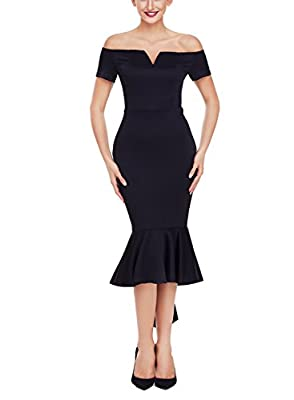 Ebbizt Womens Off The Shoulder High Low Bodycon Mermaid Evening Party Midi Dress