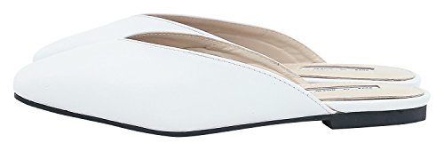 Mule AnnaKastle Vegan Shoes White Womens Backless V Slide Cut Leather Flats SH6YxSr