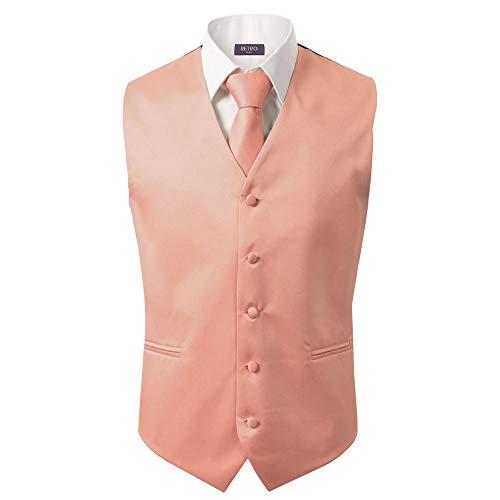 3 Pcs Vest + Tie + Hankie Men's Fashion Formal Dress Suit Slim Tuxedo Waistcoat Coat (Small, Peach) ()