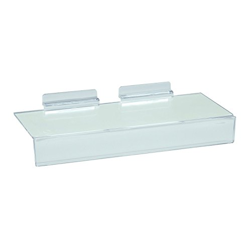 Slatwall Flat Clear Acrylic Shoe Shelf w/ 1.25'' H x 10'' L Sign Holding Slot, 4'' D x 10'' L, 10 Pack by Store Fixtures Direct