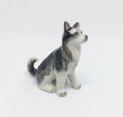Husky Dog Figurine - Handmade Animal Figurine ceramic Siberian Husky Figurine Dog Collection Best Gift .