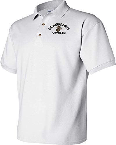 U.S. Marine Corps Eagle Globe and Anchor Veteran Polo White - Marine Corps Polo Shirts
