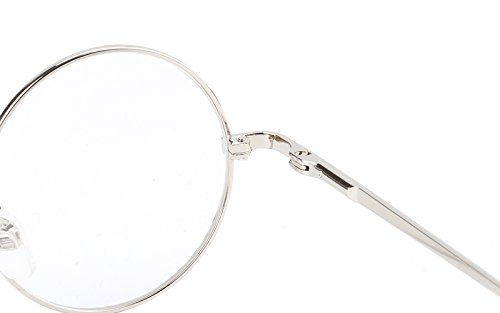 Agstum Retro Round Prescription ready Metal Eyeglass Frame (Small Size) (Silver)