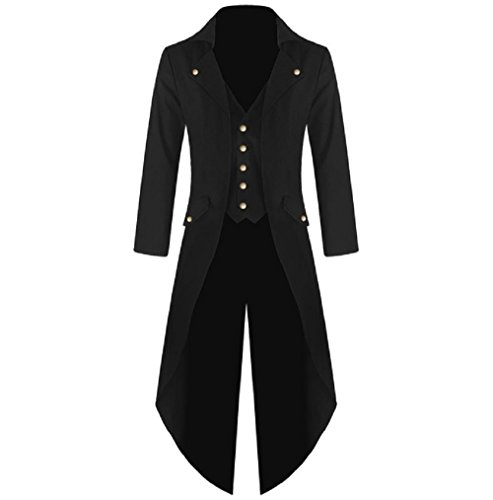 Victorian Costumes For Men (Karlywindow Men's Gothic Tailcoat Victorian Costume Steampunk Jacket)