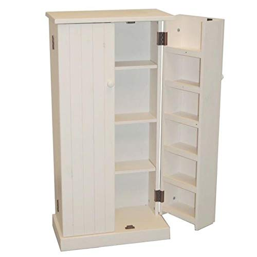 Kitchen Pantry Cabinet Free Standing White Wooden Cupboard Storage Organizer Food 3 Adjustable Shelves Door Backs 6 Shelves 2 Doors Kitchen Storage Closet & eBook by BADA Shop by BS (Image #3)