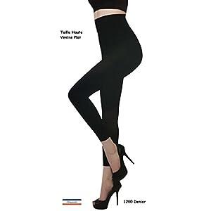 Cflagrant® Leggings Femme Extensible Noir Ventre Plat/Taille Mi Haute 1200 Denier Interieur Doublé Ultra Doux