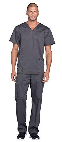 Dickies Essence Men's V-Neck Scrub Top DK630 &Drawstring Zip Fly Scrub Pant DK160 Scrubs Set (Pewter - Large/Large (Men Essence)