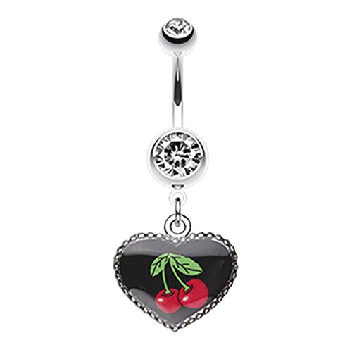 14 GA Cherry Heart Dangle Belly Button Ring 316L Surgical Stainless Steel Body Piercing Jewelry For Women and Men Davana Enterprises