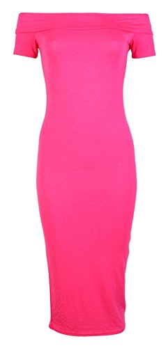 Forever Womens Cap Sleeves Plain Off Shoulder Stretchy Midi - Girls Jersey Dress Pink
