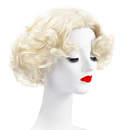 WELLKAGE Short Blonde Curly Wavy Cosplay Marilyn Monroe Wigs