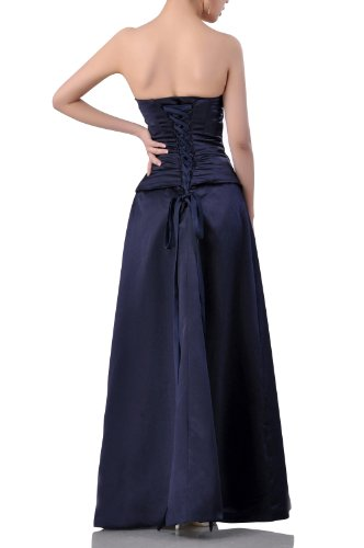 Bridesmaid Long Beading Goldfarben line A Natrual Dress Satin Strapless Special Occasion I6Upq8