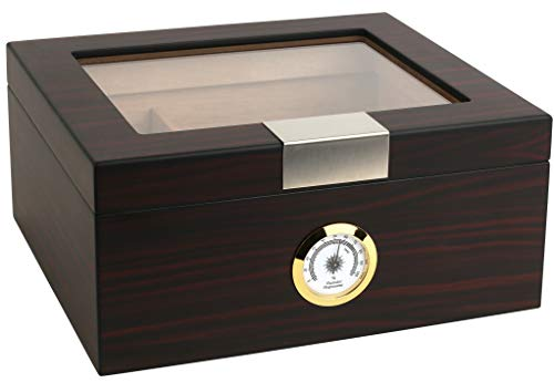 Mantello Ebony Glass-Top Cigar Humidor Humidifier Box with Hygrometer and Cedar Wood Humidity Packet Holder - Holds (25-50 Cigars)