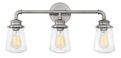 Hinkley 5033BN Fritz Wall Vanity, 3-Light, 300 Total Watts, Brushed Nickel