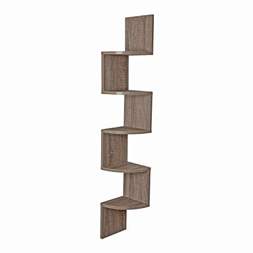 Danya B Large Rustic Weathered Oak Zig Zag Corner Wall (Oak Home Decor)