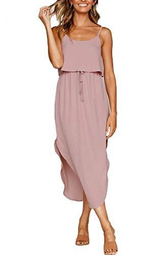 NERLEROLIAN Women's Adjustable Strappy Split Summer Beach Casual Midi Dress(shenfen,S)