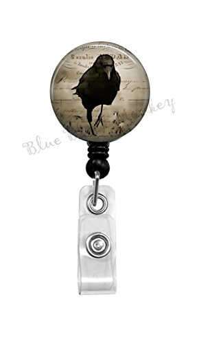 Black Crow - Badge Reel - Black Raven - Badge Reel - Gothic - Retractable Badge - Crow ID Holder - Nurse Badge Reel - Gift for Nurse - Office Badge Reel