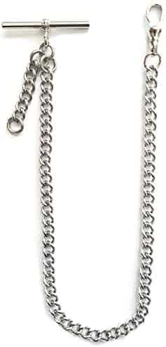 Dueber Silver Tone Chrome Plated Albert Pocket Watch Chain with fob Drop