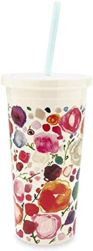Kate Spade New York Insulated Plastic Tumbler With Reusable Silicone Straw, 20 Ounces, Floral