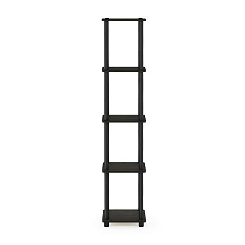Furinno 99132EX/BK Turn-N-Tube 5-Tier Corner Square Rack Display Shelf, Espresso/Black from Furinno