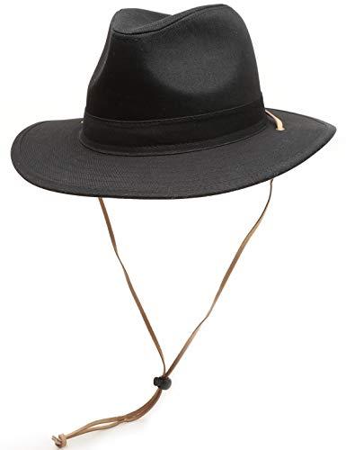 MIRMARU Men's Outdoor Sun Protection 100% Cotton Mesh Crown Outback Wide Brim Safari Hat with Adjustable Drawstring (Solid Black, LXL)