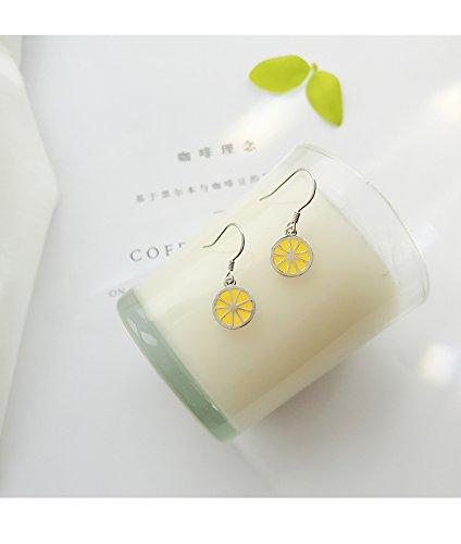 (Lemon Earrings earings Dangler Eardrop Women Girls s925 Silver Creative Korean Cute Women Gift Students Elegance Girl)
