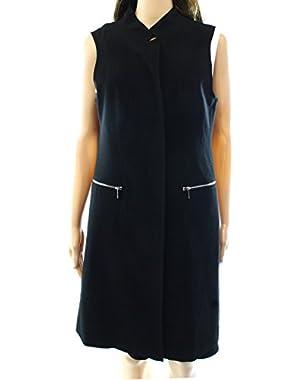 Calvin Klein Women's Stand Collar Zip-Pocket Vest Jacket Black 12