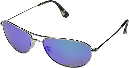 Maui Jim Baby Beach B245-17 | Sunglasses, Silver with Blue, with Patented PolarizedPlus2 Lens ()