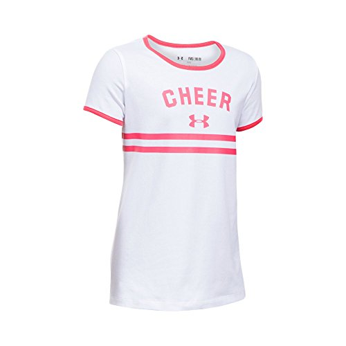 Under Armour Girls' Cheer Ringer Short Sleeve T-Shirt, White/Gala, Youth Large (Ringer Tee Cotton Ultra)