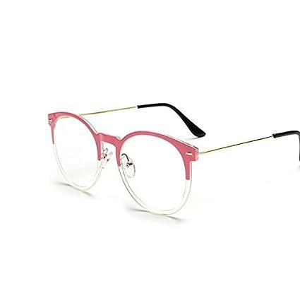 Tocoss (TM) haute qualité Lunettes de soleil Homme Femme ronde en métal Cadre Lunettes de soleil Male femelle Transparent Miroir Eyewear Marque Designer vœux, rose