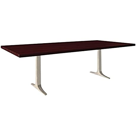 Saloom Furniture MDWS 4280 APO Chocolate Apollo 42 X 80 Rectangular Straight Edge Maple Top Dining Table With Aluminum Base Chocolate Finish