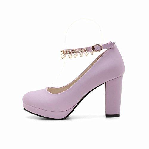 Pumps Damen Lila Mee Plattform Charm Shoes Blockabsatz HPFw8Fq