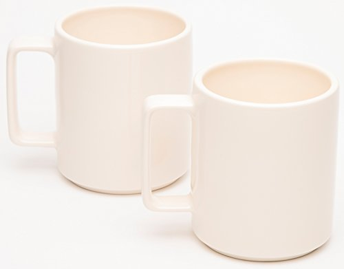 American Mug Pottery Ceramic Square Handle Coffee Mug, Made in USA, Ivory, 17 oz - Pack of ()