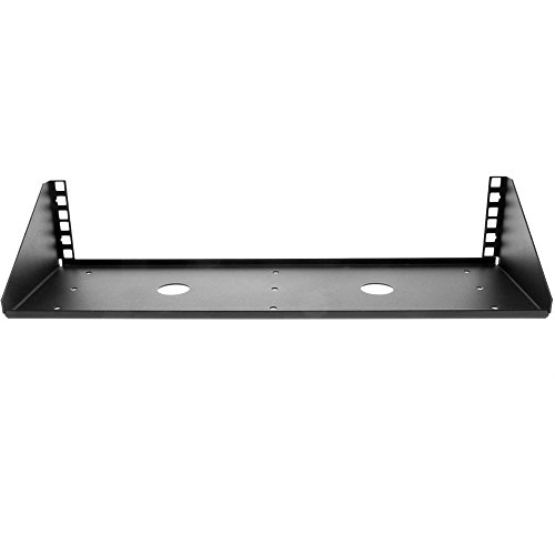 V Rack, 2U - Hinged Center Plate Paralleled Shallow Rack Shelf Wall Mount