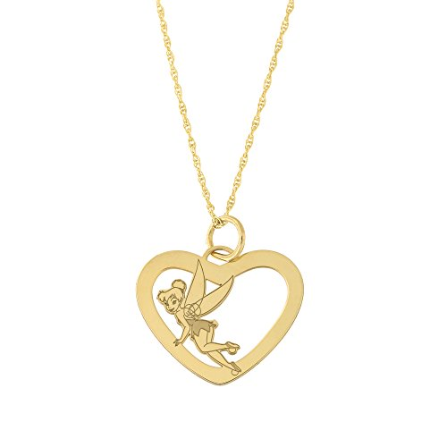 - Disney 14k Yellow Gold Tinker Bell Heart Pendant Necklace, 13 inches
