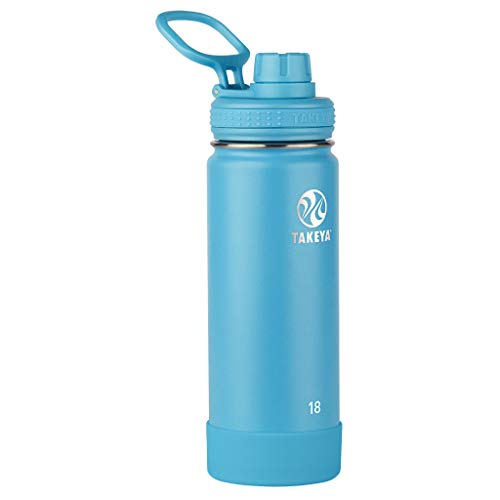 Takeya Actives Insulated Stainless Steel Water Bottle with Spout Lid, 18 oz, Surf