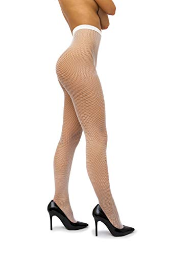 - sofsy Fishnet Tights Pantyhose - High Waist Net Nylon Stockings - Lingerie [Made In Italy] White 5 - X-Large