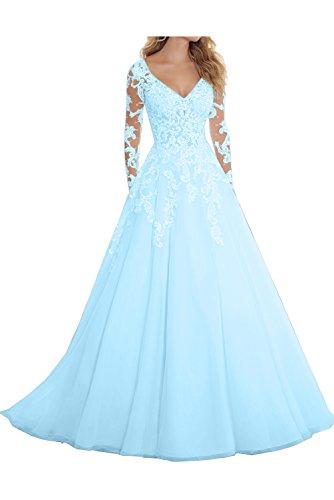 Hellblau Promkleider Damen Abendkleider Ausschnitt Arm Modern Ivydressing Spitze V Hochzeitskleider Lang zfvAA