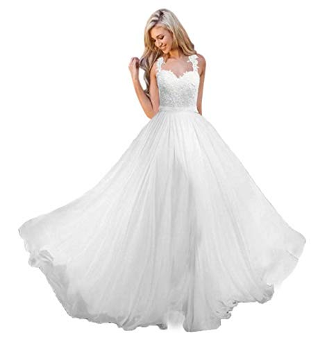 Andybridal A Line Spaghetti Straps Sweetheart Lace Chiffon Bridal Gowns Beach Wedding Dress White 12