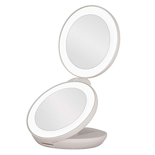 Price comparison product image Portable Vanity Mirror 5X Magnification Makeup Mirror with LED Light for Home and Travel by Paukin (White)