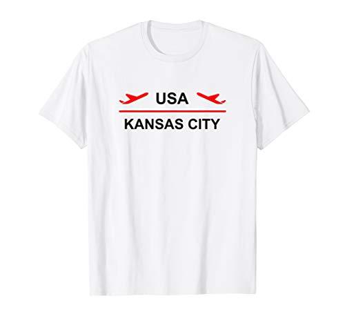 - Kansas City USA Airport Plane Light-Color T-Shirt
