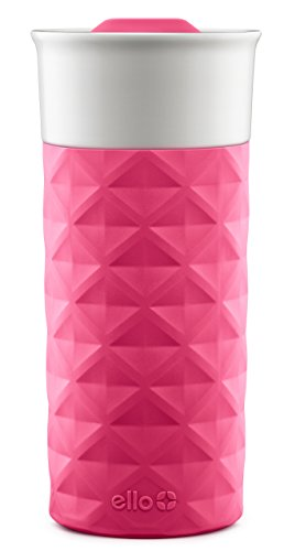 Ello Ogden BPA-Free Ceramic Travel Mug with Lid, Pink, 16 oz