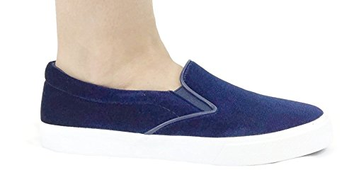 Soda If13 Mujeres Classic Elástico Panel Slip On Stitched Fashion Sneaker Navy