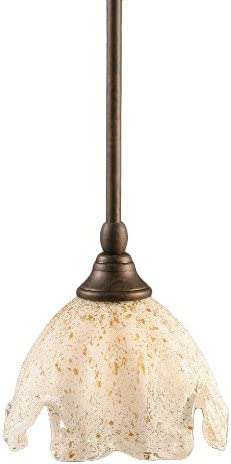Toltec Lighting 23-BRZ-755 Stem Mini-Pendant Light Bronze Finish with Gold Ice Glass, 7-Inch