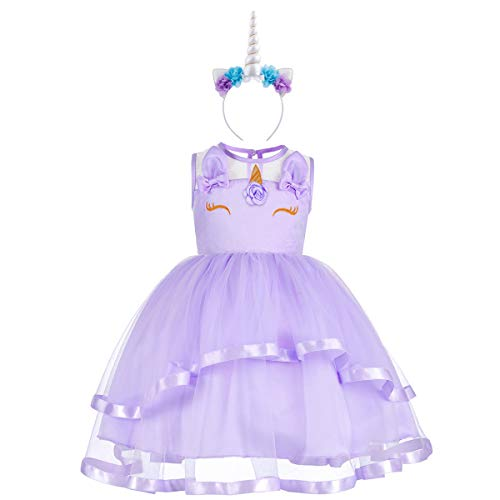 Flower Girls Unicorn Costume Pageant Princess Party Ruffles Dress for Kids Babies Toddlers Birthday Easter Formal Maxi Gown S# Lavender 2-3 Years