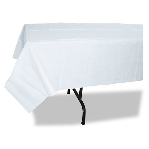 Paper Table Cover, Embossed, w/Plastic Liner, 54'' x 108'', White, 20/Carton, Sold as 1 Carton