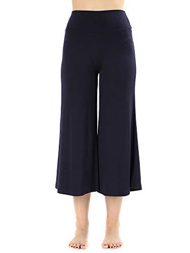 The Lovely Women's Knit Capri Culottes Gaucho Wide Leg Pants(Navy, M)