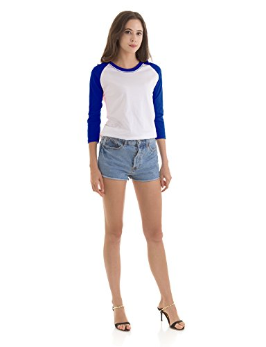 H2H Womens Solid Casual Round Neck 3/4-Sleeve Raglan Top Tee Shirt Blue US XL/Asia XL (KWTTS0159)