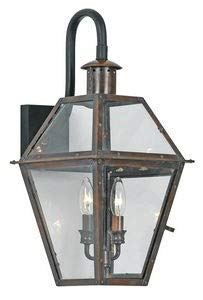 Quoizel RO8411AC Rue De Royal Outdoor Wall Lantern Wall Mount Lighting, 2-Light, 120 Watts, Aged Copper (22